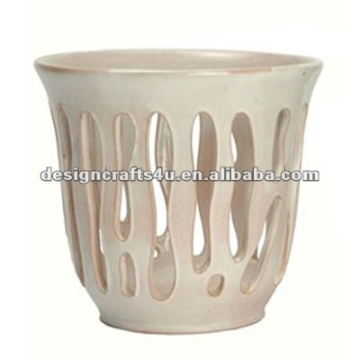 ceramic white orchid flower pot