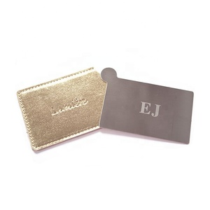 High Quality Cheap Custom Laser Logo Type And Pu Case Packaged  Credit Card Size Stainless Steel Pocket Mirror