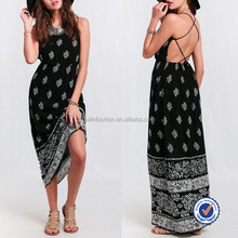 wholesale fashion bohemia style clothing women low cut backless maxi long dresses made in india