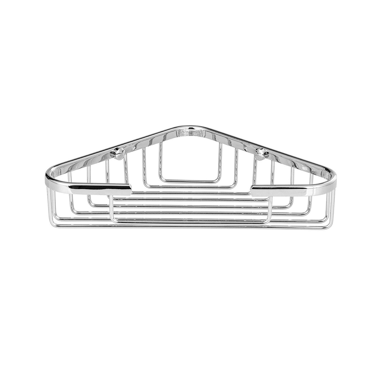 "Maykke Dawn 8"" Wall Mount Corner Shower Basket Shelf | Wire Caddy for Shampoo, Conditioner, Soap, Razor Storage | Solid Brass Bathroom Tub Holder & Organizer | Polished Chrome, XYA1070201"