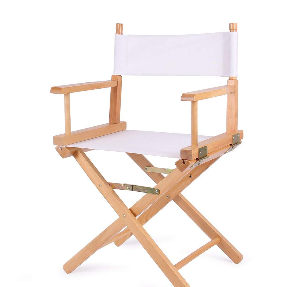 ZHIRONG Director's Chair Outdoor Leisure Portable Folding Chair Solid Wood Canvas Computer Chair Backrest Makeup Chair Fishing Chair (Color : White)