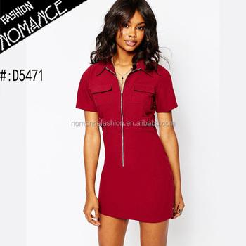f5d3230975d861 latest woman short sleeve Jersey Dress with Point collar dress zip front  fastening design