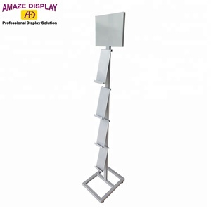 4 layer waterfall metal material book and magazine display stand for retail store