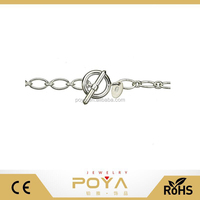 POYA Jewelry Oval 1+1 Sterling Silver Chain Necklace Toggle Clasp Nickel Free