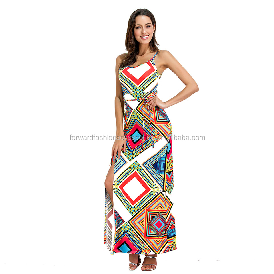 Dames Spaghetti Strap Backless Imprimé Africain Kitenge Dress Designs