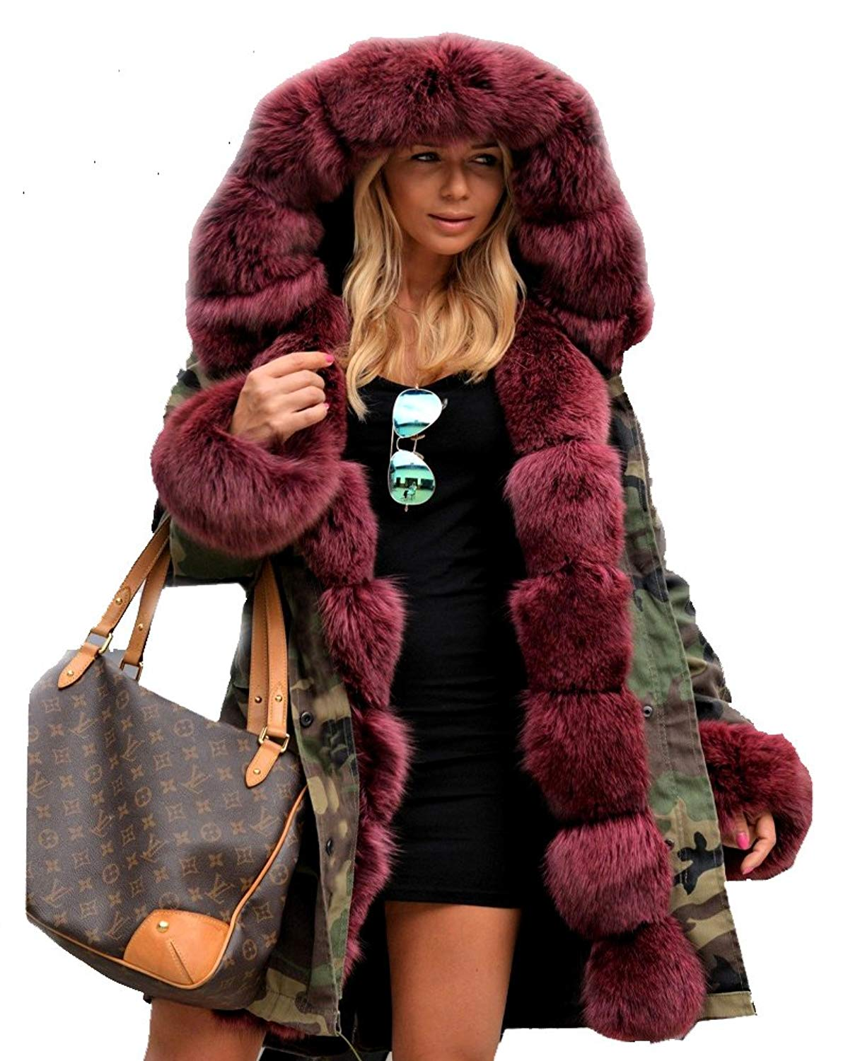 f4a823412b9ff Get Quotations · Roiii Thickened Wine Red Faux Fur Amry Green Camouflage  Parka Women Hooded Fishtail Winter Jacket Overcoat