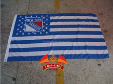 new york rangers with American national flag background Match club flag, XLVII banner, 90*150CM polyster flagking brand flag