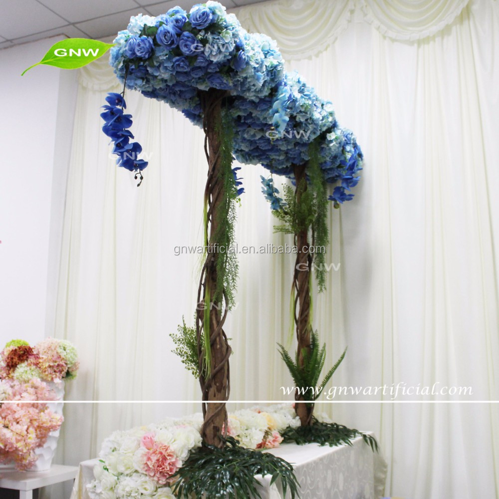 GNW FLW161018 A New design New arrival fabric royal blue flower arch for wedding decorations