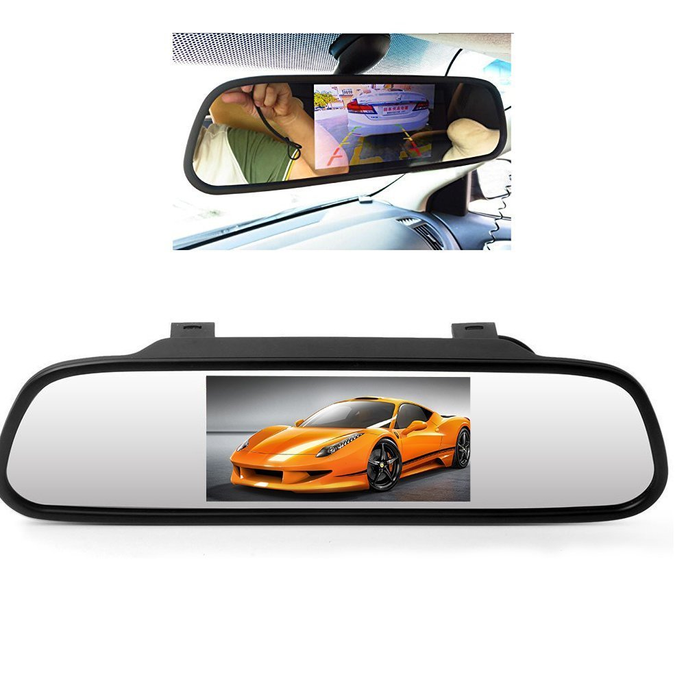 5 Inch Color TFT LCD Display Car Rear View Screen Mirror Monitor Auto Switch PAL/NTSC Detecting System 2 AC Input