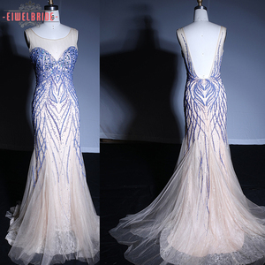 Formal net Backless sexy evening dress patterns gown