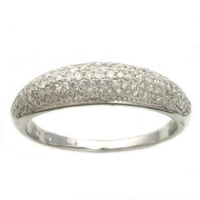 14K White Gold 1/2ct. TDW Micro-Pave Domed Diamond Band Ring (H-I, I2)