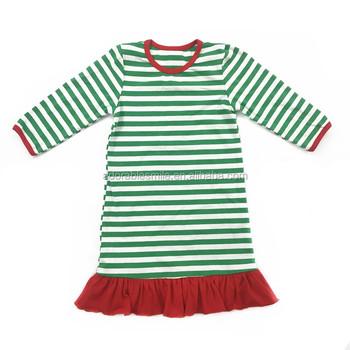 Wholesale Boutique Baby Girl's Green White Stripe Dress Stock No Moq  Christmas Kids Clothing - Buy Baby Girl's Green White Stripe Dress,Cotton