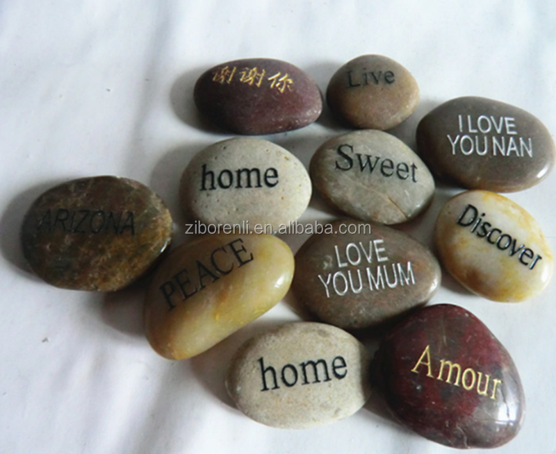 Walkway Decor Multi Color Stone Chinese Lettering Natural Glass Pebbles Gifts