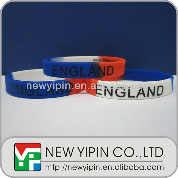 Custom camouflage silicone wristband with flag printing for 2014 Brazil world up soccer ball