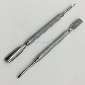Professional stainless double side nail cuticle remove pusher
