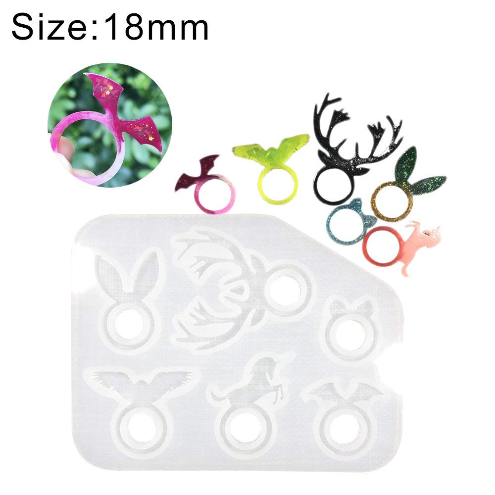 Frenshion 18mm Crystal Epoxy Nail Art Polish Tool Animal Silicone Mold Rings DIY Handmade Mold Resin Soft Silicone Mold Dried Flower Crystal Jewelry