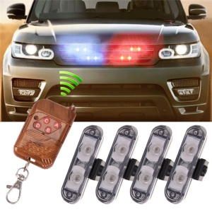 4 IN 1 2LED Wireless Remote DC 12V Led Warning Light Car Truck Flashing Strobe Lights LED Ambulance Police Light