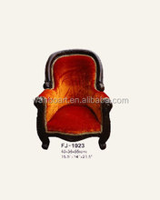 1023 handmade brown /dark red color antique finished hand carved wood child armchair doll sofa with classical red fabric