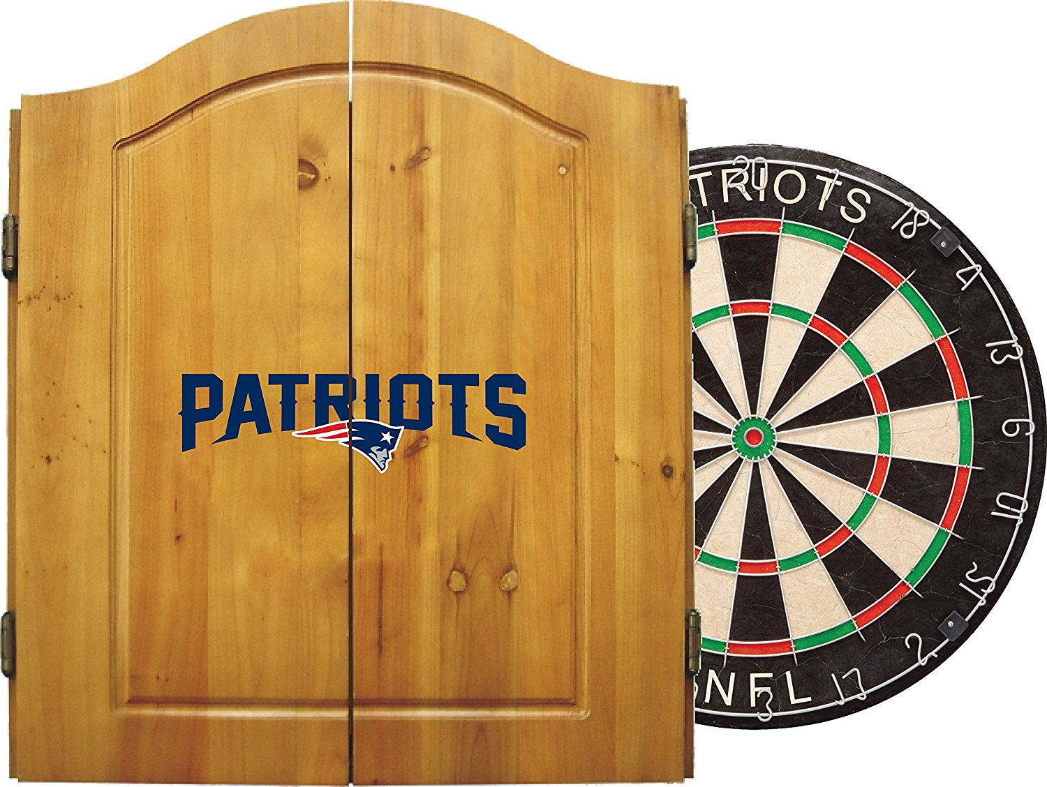 Imperial Officially Licensed NFL Merchandise: Dart Cabinet Set with Steel Tip Bristle Dartboard and Darts
