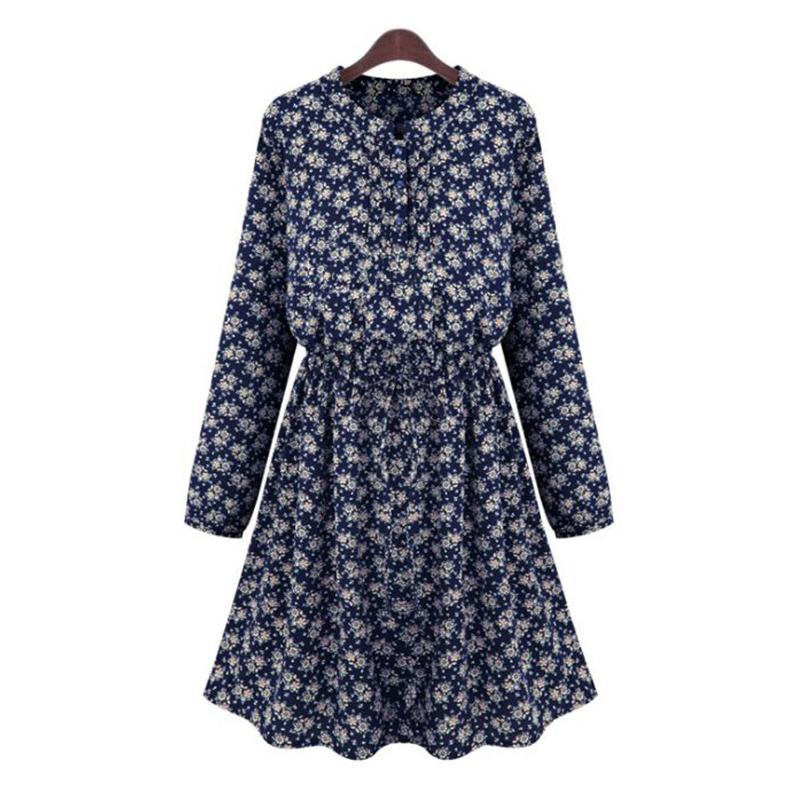 67abd6f074 Get Quotations · Fashion Women Prints Flower Skater Dress Pleated Long  Sleeve Tie Waist Button Midi Vintage Dresses Plus