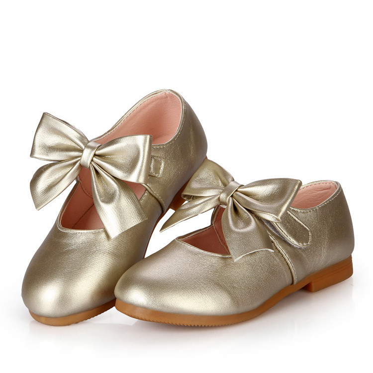 6e973f1ce0ad Get Quotations · New girls princess dance shoes bow cute baby leather shoes  kids girls wedding beige dress shoes