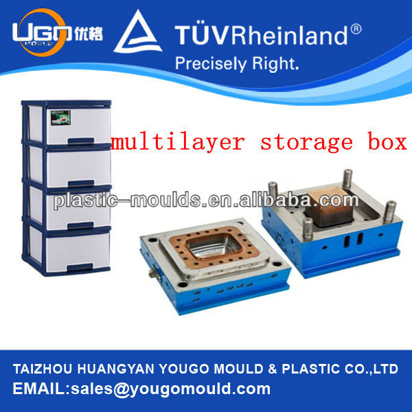 3 multi-layer jewelry Storage box moulding / taizhou huangyan plastic injection mold manufacture