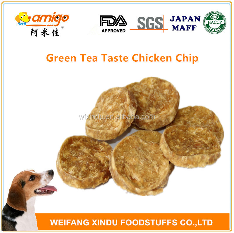 Pet training with FDA SGS Green Tea Taste Whiskas Chicken Round Chip Dog Products