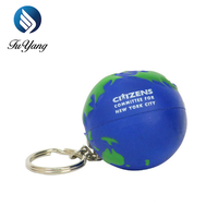 promotional toy Custom PU Earth Ball Key Chain Stress Ball,pu foam anti stress keyring