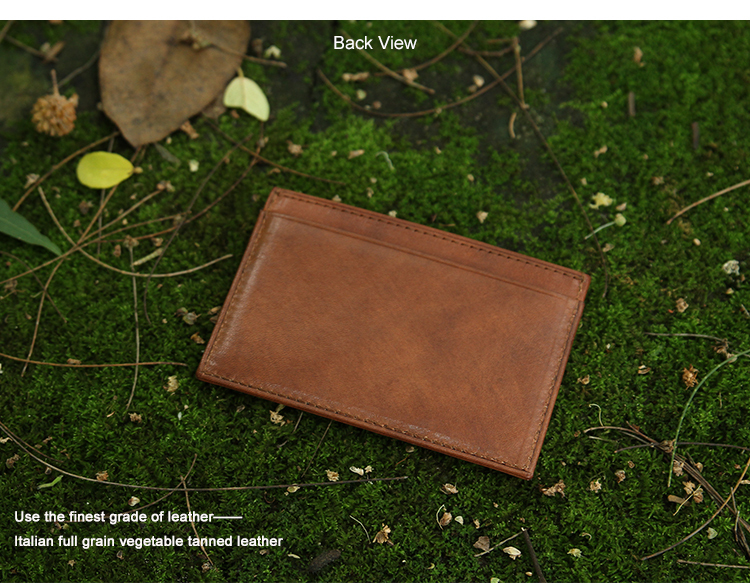 Italian Leather Rfid Blocking Card Holder mini Wallets For Men