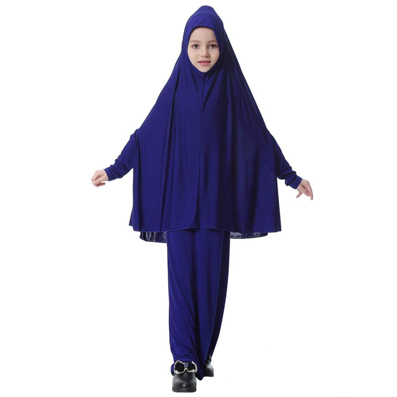 2650371a92 Get Quotations · Weixinbuy Little Girl Muslim Abayas + Hijab 2PC Maxi  Jersey Dresses Robe Abaya Islamic Clothing