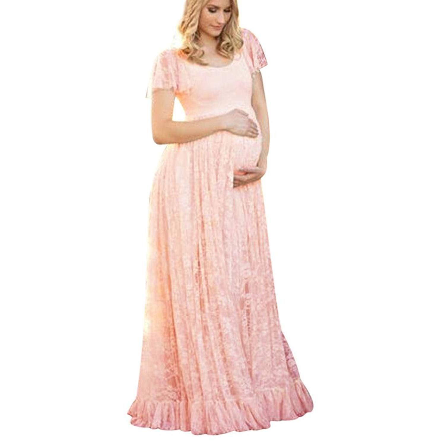 b45f84fd2d0fb Get Quotations · Hot Sale! Maternity Dresses Fabal Women's Floral Lace  Short Sleeve Photography Fly Sleeves O Neck