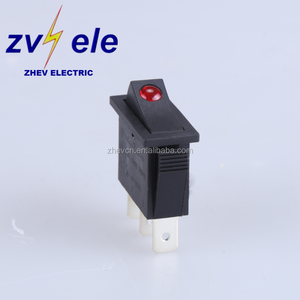 20A 12V LED indicator switch with point light illuminated 220V red rocker switching