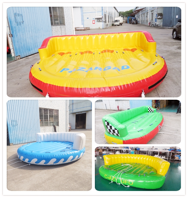 China Supplier Inflatable Water Tube 3 Person Sport Games Ski Floating Island