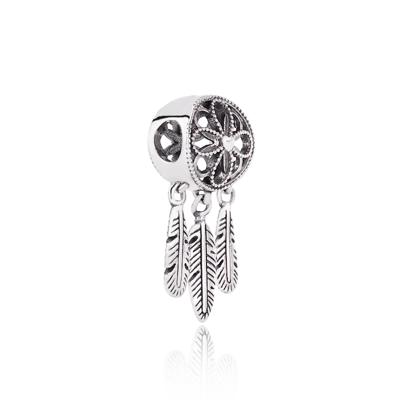 925 Sterling Silver Beads Pendants Jewelry Spiritual Dreamcatcher <strong>Charms</strong> For Bracelets Beads