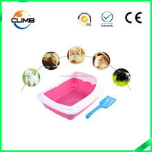 Factory Wholesale Blue Red Plastic Cat Litter Open Mobile Portable Litter Box Semi-closed Toilet