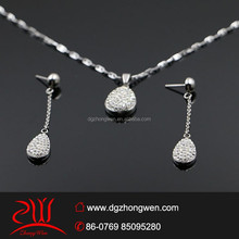 latest hot sale pear shaped rhinestones jewelry set for women