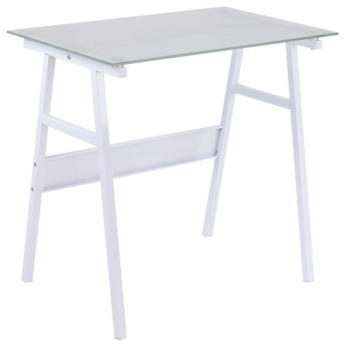 Black Glass Top Metal Leg Study Computer Desk - White