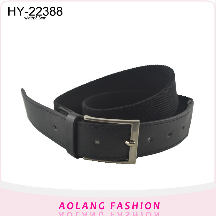 2017 Fashionable black Weave wide Elastic Belt for Women with square buckle