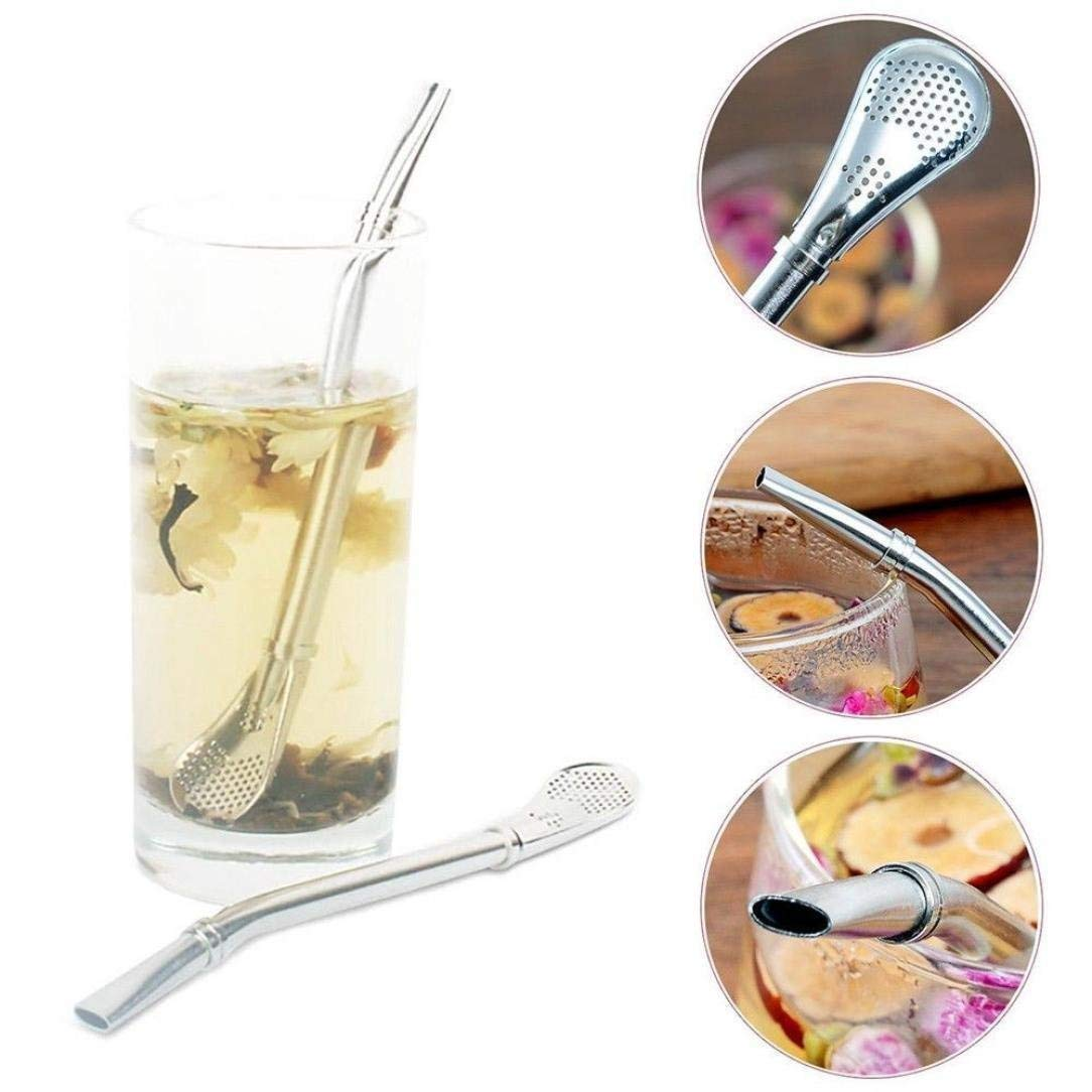 Drinking Straws Filter, Elevin(TM) 2pcs Stainless Steel Yerba Mate Tea Bombilla Drinking Straw Filter 15.5cm
