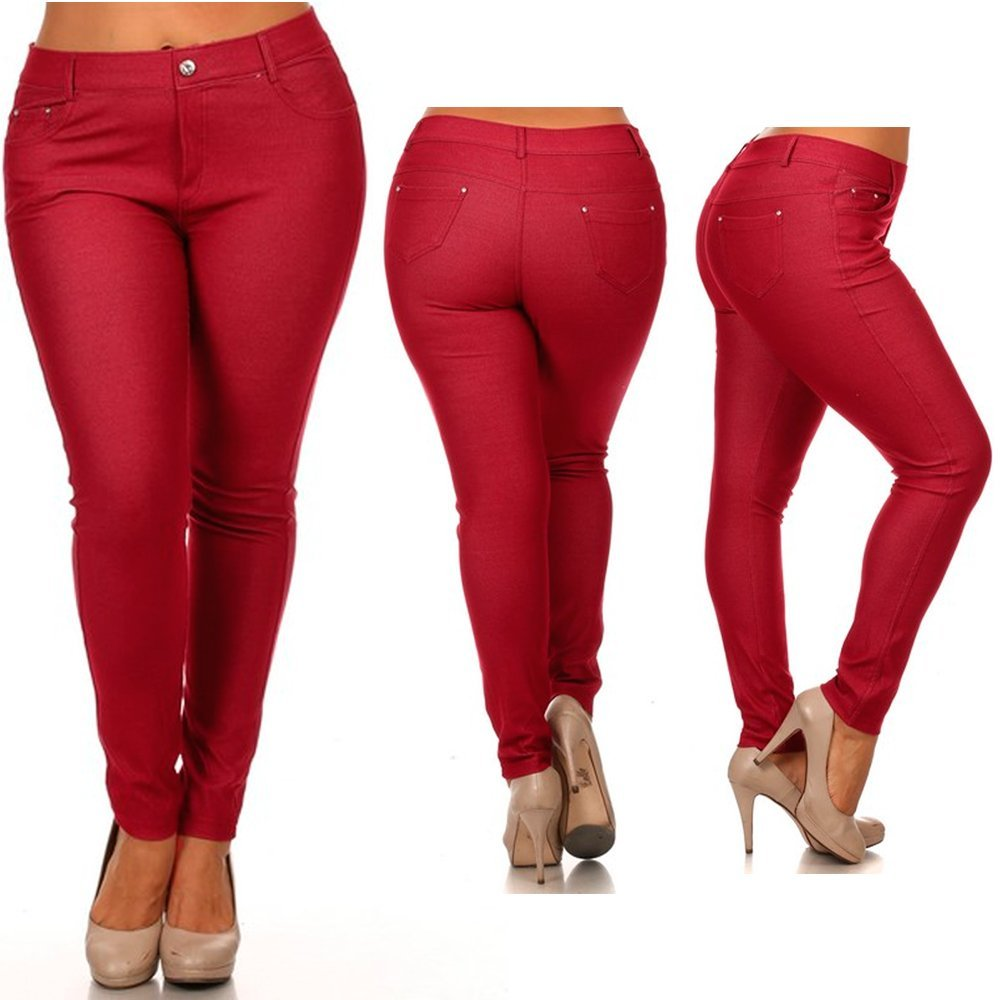ee22800e95b Get Quotations · Women s Plus Size Cotton Jeans Look Skinny Jeggings  Stretch Red Pants Size 2XL