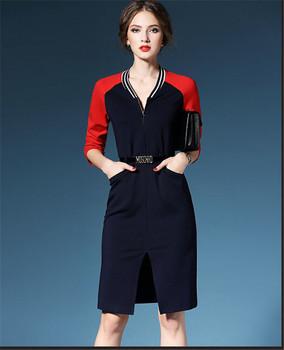 Newest Preppy Style Women Formal Office Dress Reglan Sleeve Color Combination Z039