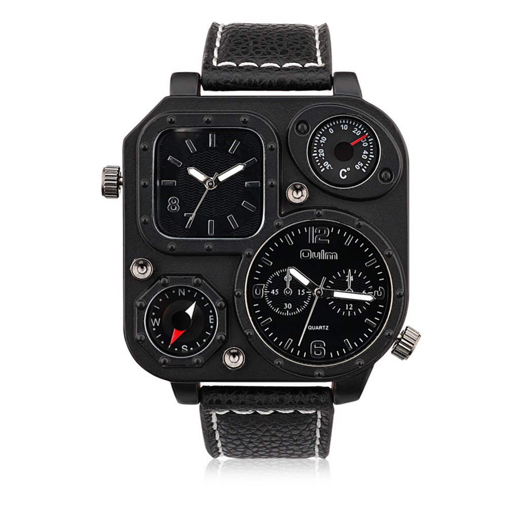 SJWHQL005-2 Personalized Design Double Time Zone Black Leather Watch Strap Big Dial Compass Black Men's Quartz Watch