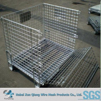 Delicieux Galvanized Wire Steel Cage Folding Metal Storage Crate With Wheels