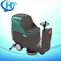 dual-brush high efficiency battery ride-on floor scrubber dryer