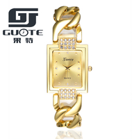 Hot Sale bracelet women Wrist Fashion Square Diamond Quartz Gold Plated Watch