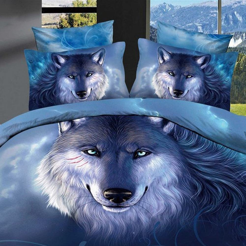 Alicemall Queen 3D Wolf Bedding Deep Blue Unique 3D Wolf Oil Painting Bedding Set 4 Pieces Blue Duvet Cover Set Wolf Print Bed Set (Queen, Blue)