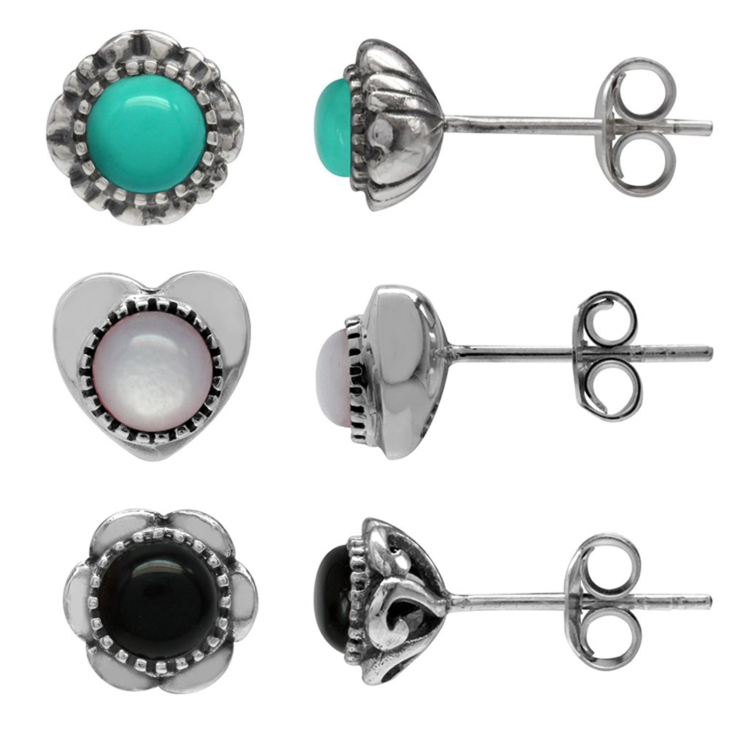 Created Turquoise/&Created Onyx Sterling Silver Filigree Flower Stud Earrings 3-Pair Set Mother Of Pearl