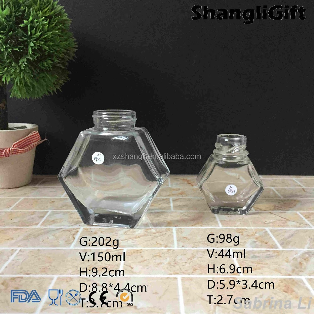 150ml 40ml sexangle honey glass jar with metal lid