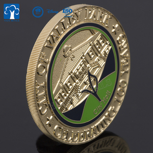 Custom metal souvenir 100 year anniversary cut edge coin