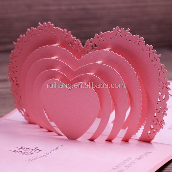 heart sweet 3d greeting invitation cards of wedding